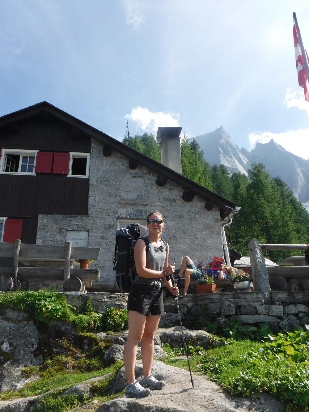 Sasc Fura hut with Piz Badile behind