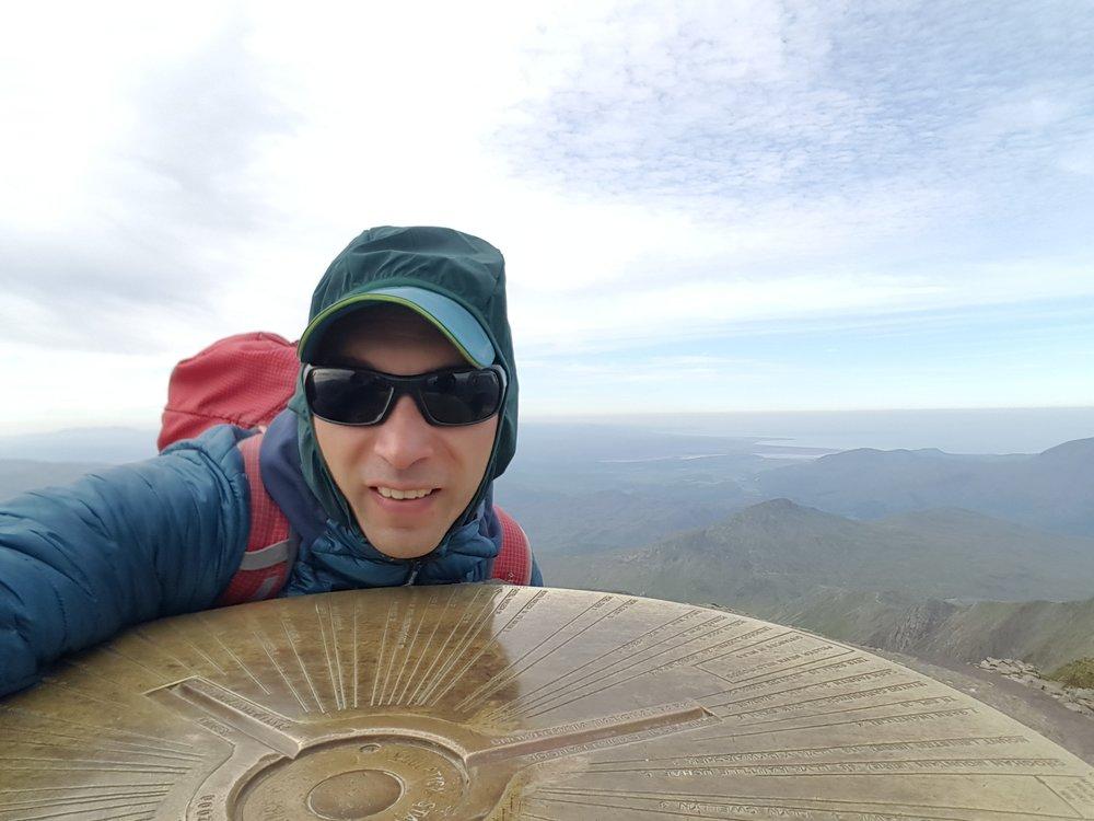 Windy summit of Yr Wyddfa in June