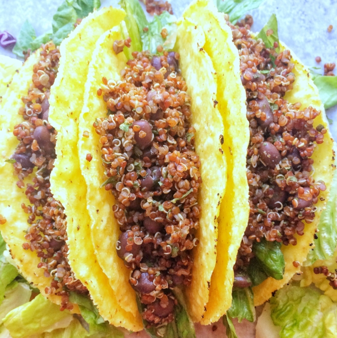 Vegan taco Tuesday night is here to stay. Corn tacos filled with seasoned quinoa, and black beans. A great taco base to be filled with your favorite fillings like corn, salsa, or lettuce.