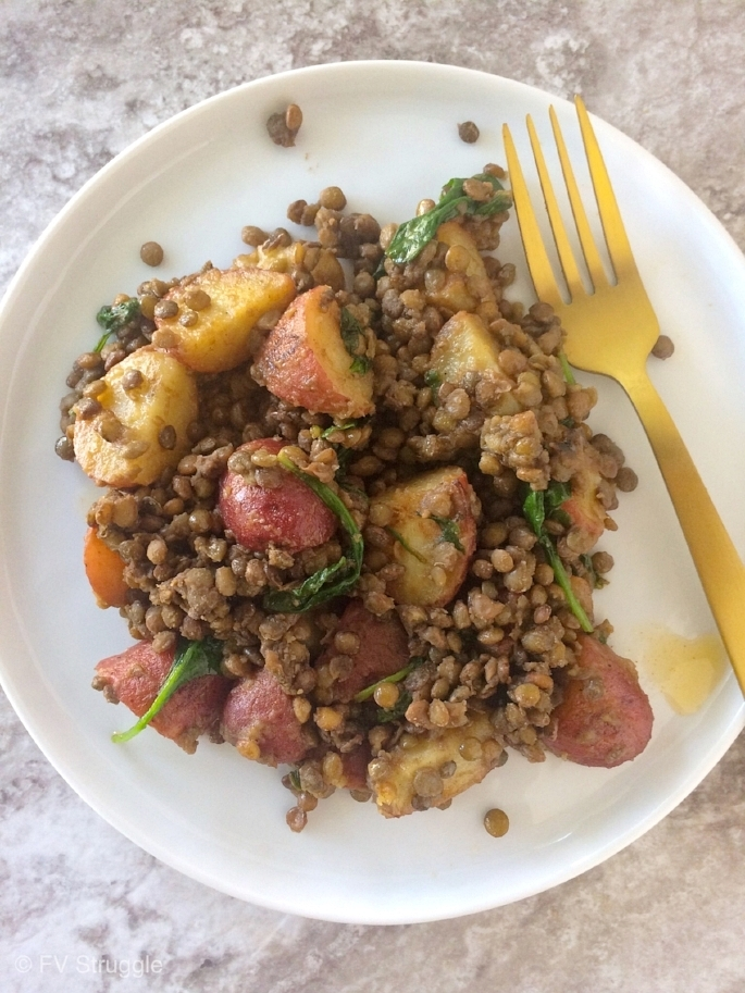 Healthy, hearty lentil salad with a garlic, lemon french style dressing. Protein filled salad that can be eaten hot or cold.