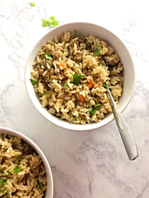 rice, carrots, peas, and creamy coconut milk makes a fast vegan weeknight dinner.