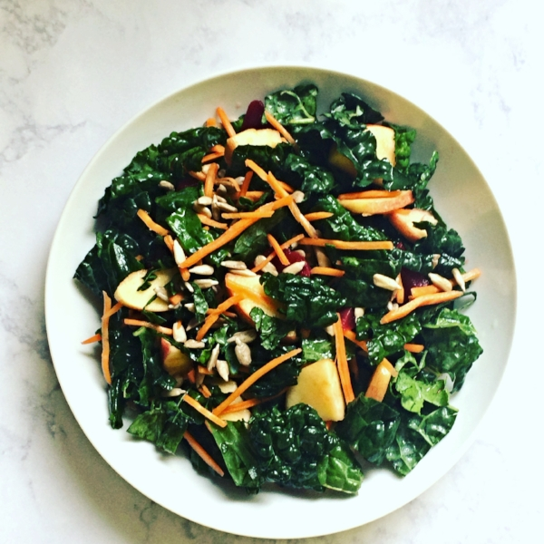 kale salad with pickled beets and apples