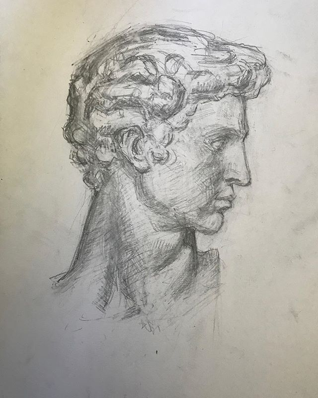 Another angle of Giuliano Medici. #boristyomkin #academicart #academicdrawing #medicichapel #graphitedrawing #pencilsketch #medici #michelangelo #graphiteart #graphiteart #portraitart #portraitartist #portraitdrawing