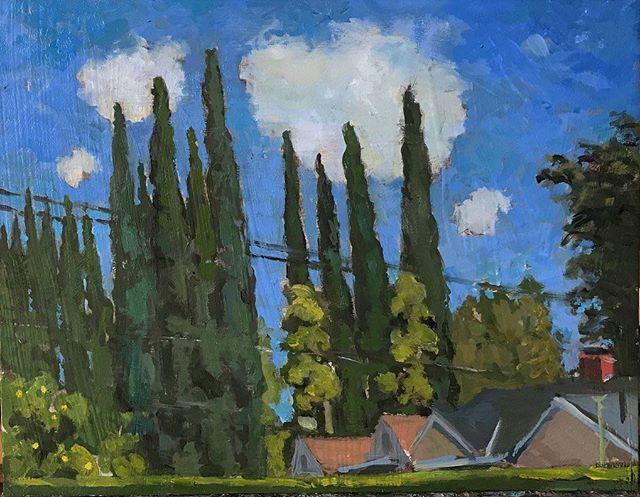 View from my back yard. #boristyomkin #landscapeart #landscapeartist #oilpainting #losangelesart #losangelesartist #impressionism #laart #laartist #lacityscape