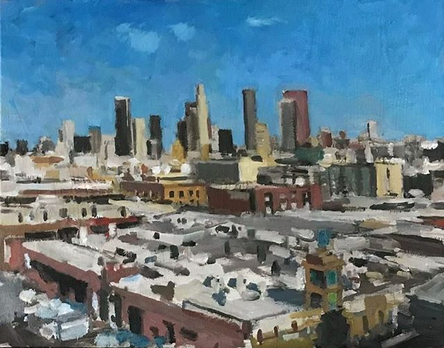 View of downtown Los Angeles. #boristyomkin @elliealtshuler #laart #laartist #lacityscape #losangelesartist #impressionism #losangelesart #downtownla #cityviews #oilpainting