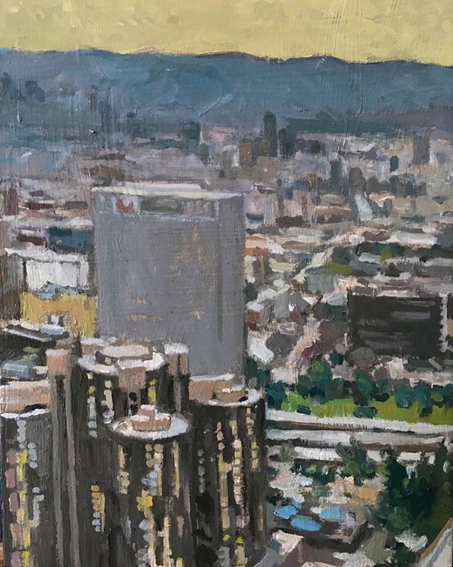View from Downtown Los Angeles. @elliealtshuler #boristyomkin #cityviews #cityscape #city #laart #laartist #lacityscape #landscapeart #cityart #downtownla #ladowntown