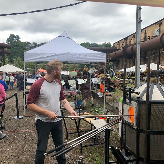 Beauty of a day for some glassblowing outside.  Come say hit to @sirockman_glass and I we'll be at the Carrie furnaces all day for the Festival of Combustion with @pgchotwheels until 5pm.