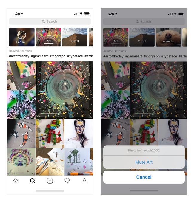 Updated Instagram Explore Layout