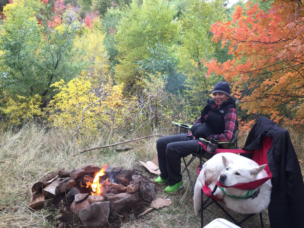 Sitting by the fire in Fishlake National Forest, Utah near a little creek.