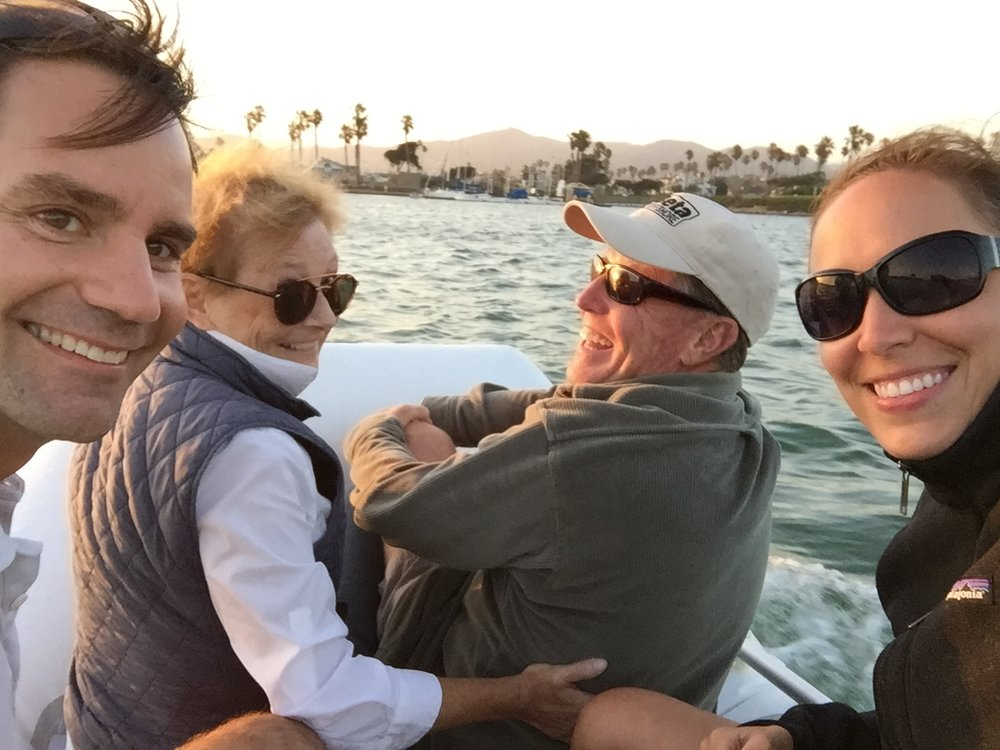 A quick trip to Ventura Harbor Village in the dinghy with Steve and his sister Ann.