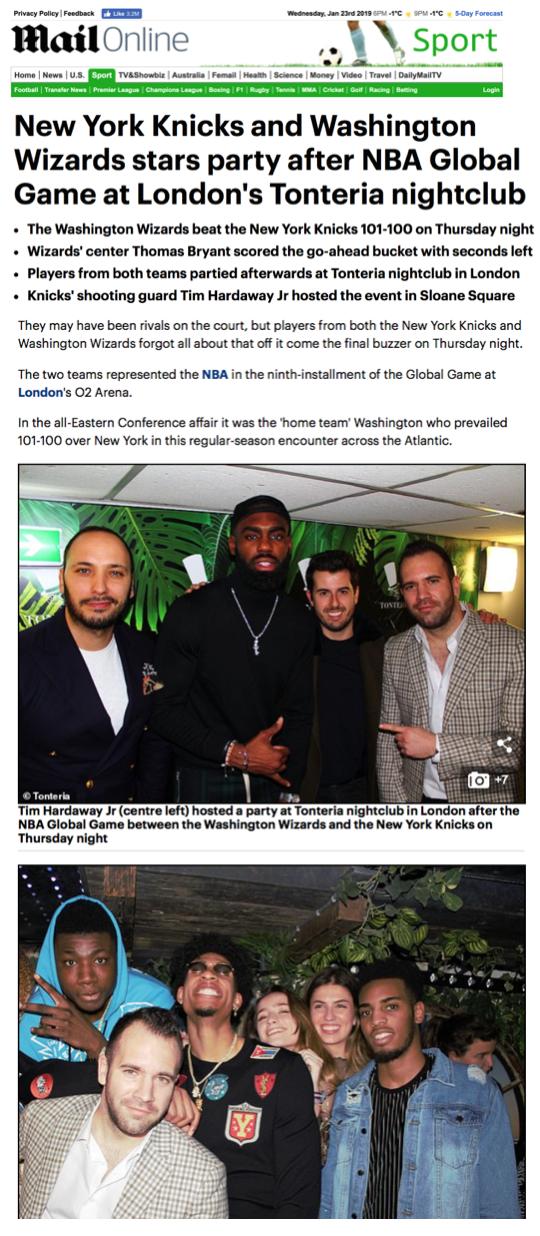 Daily Mail - Tonteria/ NBA January 2019
