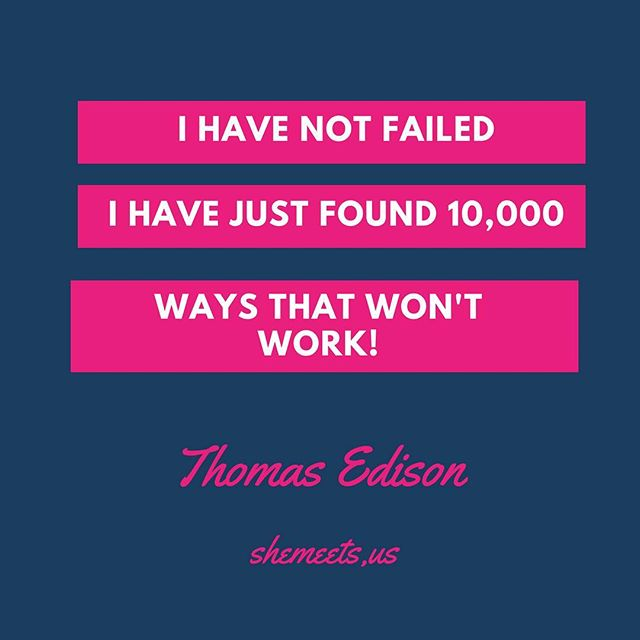 """#quoteoftheday  Thomas Edison's teachers said he was """"too stupid to learn anything."""" He was fired from his first two jobs for being """"non-productive."""" As an inventor, Edison made 1,000 unsuccessful attempts at inventing the light bulb. When a reporter asked, """"How did it feel to fail 1,000 times?"""" The best thing about imperfection is that it allows you to notice your flaws in order to grow...."""