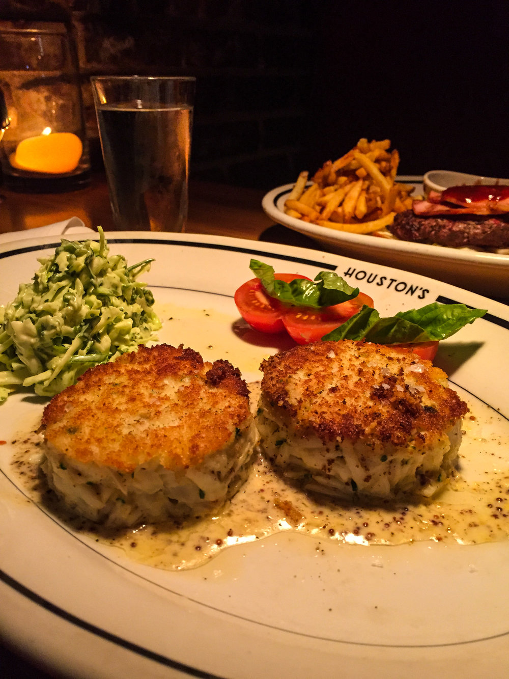 Jumbo Lump Crab Cakes from Houston's - Pan-seared with Pommery mustard and coleslaw (limited availability).$35.00