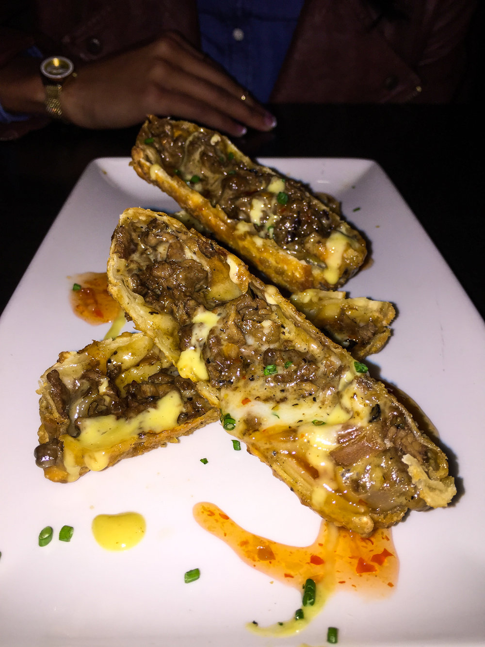 Cheesesteak Eggrolls from Del Frisco's - Sweet & Spicy Chili Sauce, Honey Mustard.$12.50