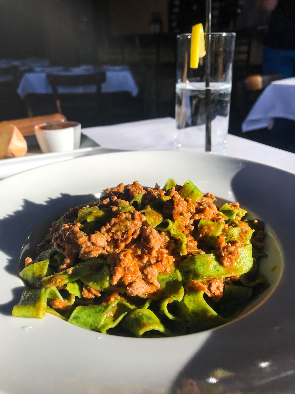 Pappardelle all'Anatra from Osteria Mamma - Green spinach pappardelle in duck ragú.$19.25
