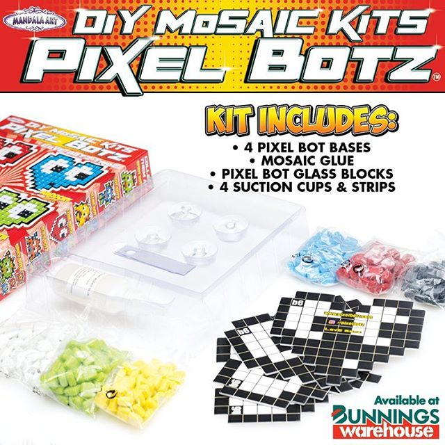 Have a peek inside our Pixel Botz box and see what creative fun is inside for the holidays!! #pixelbotz #art #craft #craftkit #mosaic #retro #glass #mandalaart #bunnings #bunningswarehouse #diy #kids #fun #artbyjaja #bunningscraft #artbyjaja #pixelbotz #kidsholidays #holidays