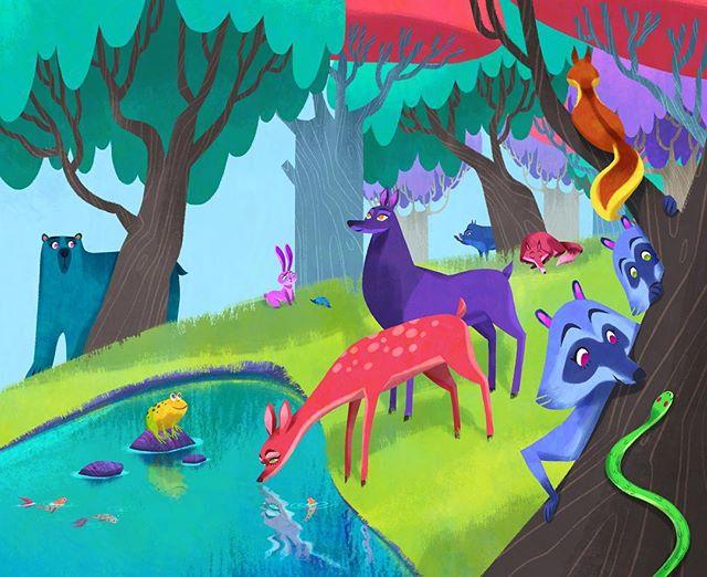 Almost done with this scene! All it needs is some plants and Waldo. But first some 😴 . . . . . . . . . . . . #illustration #kidlit #kidlitart #visdev #visualdevelopment #nature #childrensbooks #childrenillustration #romania #art #digitalart #wip #progress #characterdesign #animals #forest #characterdesign