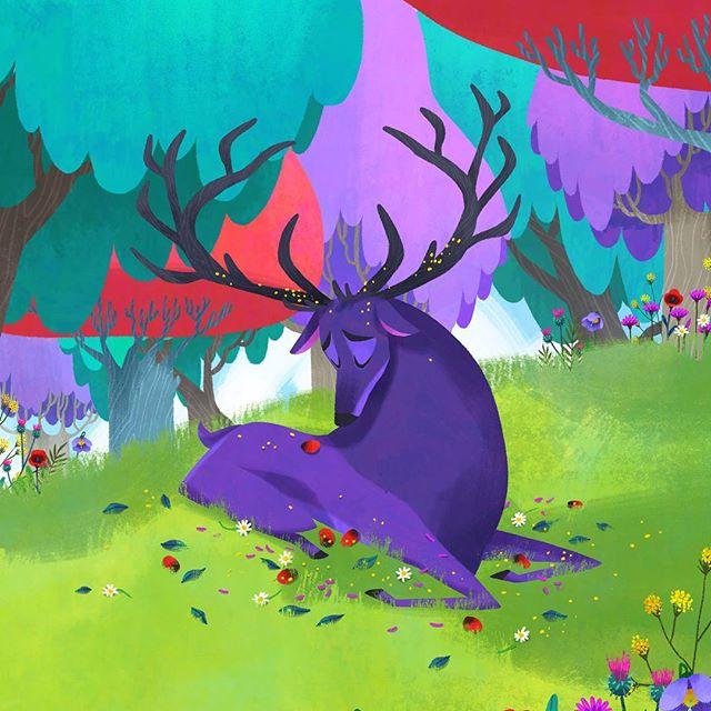 The Romanian legend about a stag's crown of shame that shaped my thesis😔 Will be sharing the full story soon! . . . . . . . . . . . . . #illustration #visualdevelopment #visdev #art #digitalart #characterdesign #deer #stag #nature #childrensbooks #childrenillustration #kidlit #kidlitart #animals #romania #folktale
