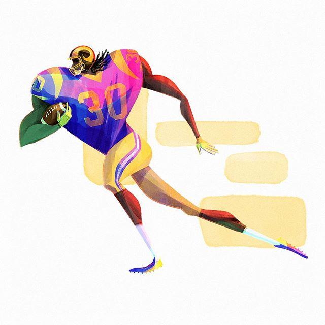 Swipe to see the Todd Gurley character design process for @madebyfern Super Bowl' shout-out! 🏈 . . . . . . . . . . . . . . . #characterdesign #sbxliii #superbowl #toddgurley #larams #illustration #football #americanfootball #visdev #visualdevelopment #art #digitalart #superbowl #nfl #atl #atlanta