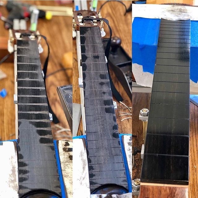 My absolute favorite thing to do repair wise is prepping a fingerboard for frets. Found a bit of a twist and a nice ski slope past the 10th fret.