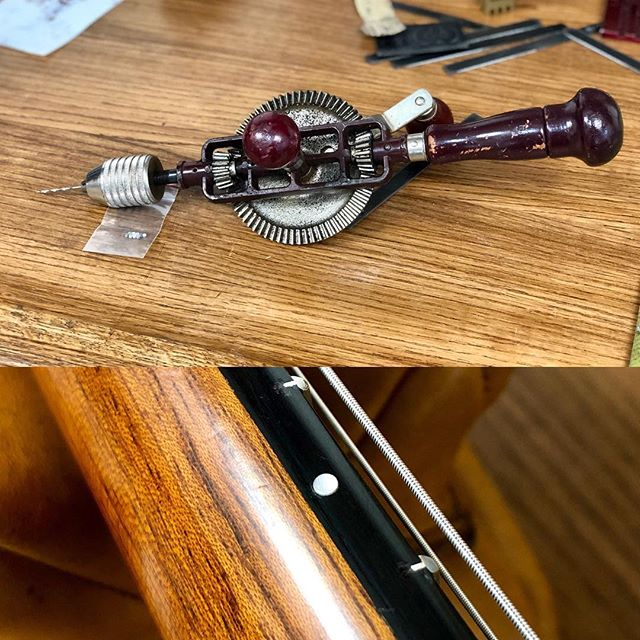 I find this old school egg beater is the best drill for drilling those small fingerboard side dots. Found it years ago at a surplus sale for $10. excellent R.O.I.