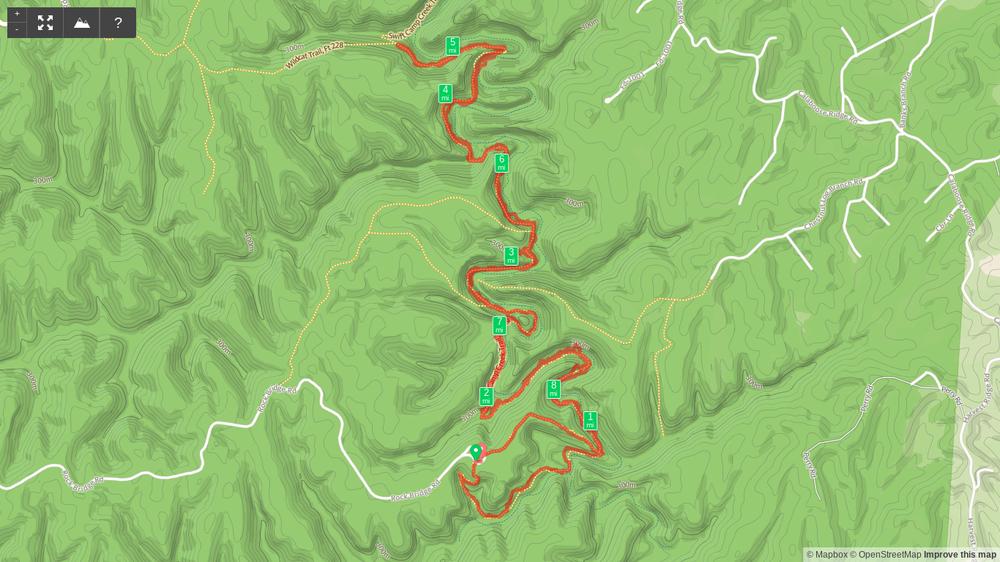 Map of Rock Bridge Arch and Swift Camp Creek hike (reverse lollipop)
