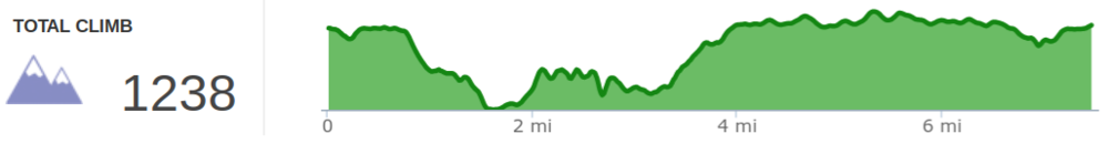 Elevation Profile of Swift Camp Creek, Wildcat, and Angel Windows Loop