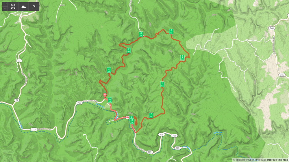 Map of Gladie Creek Loop - Bison Way, Sheltowee Trace, Lost Branch, Osborne Bend, Tower Rock