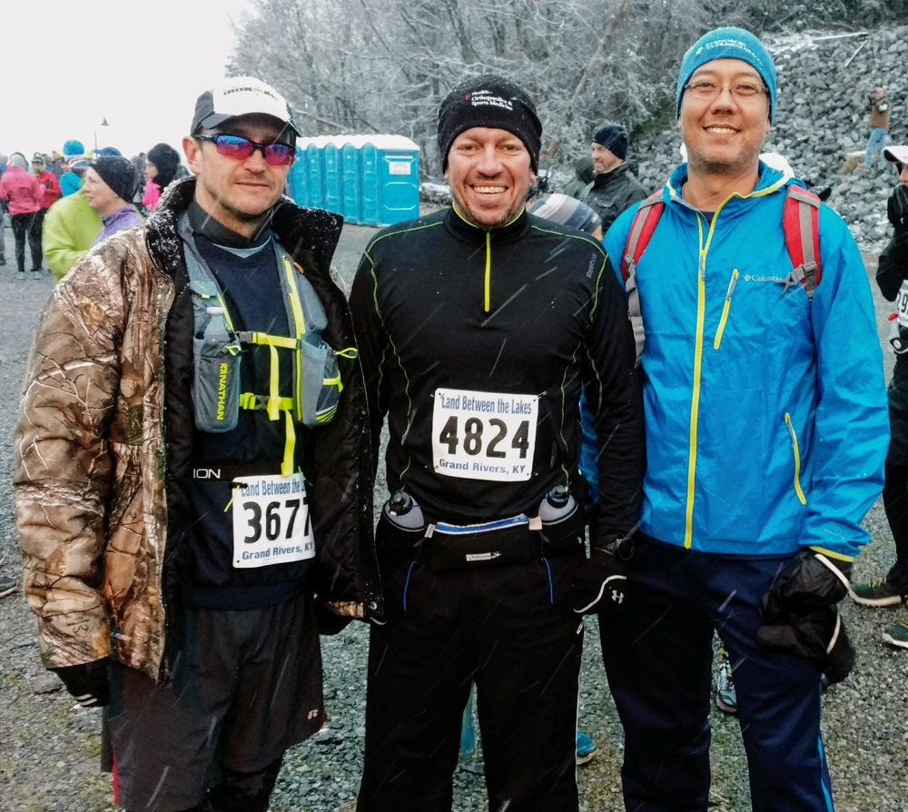 At the start for Land Between the Lakes Trail Races with Rob Gentry, Andy Hudson, and Michael Harr (from left to right)
