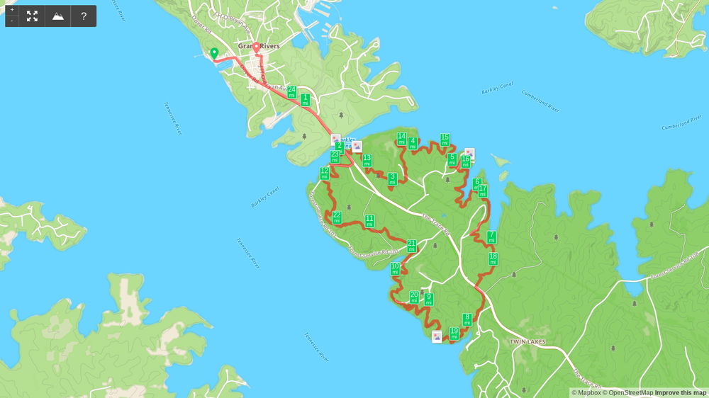 Map of Land Between the Lakes Trail Marathon