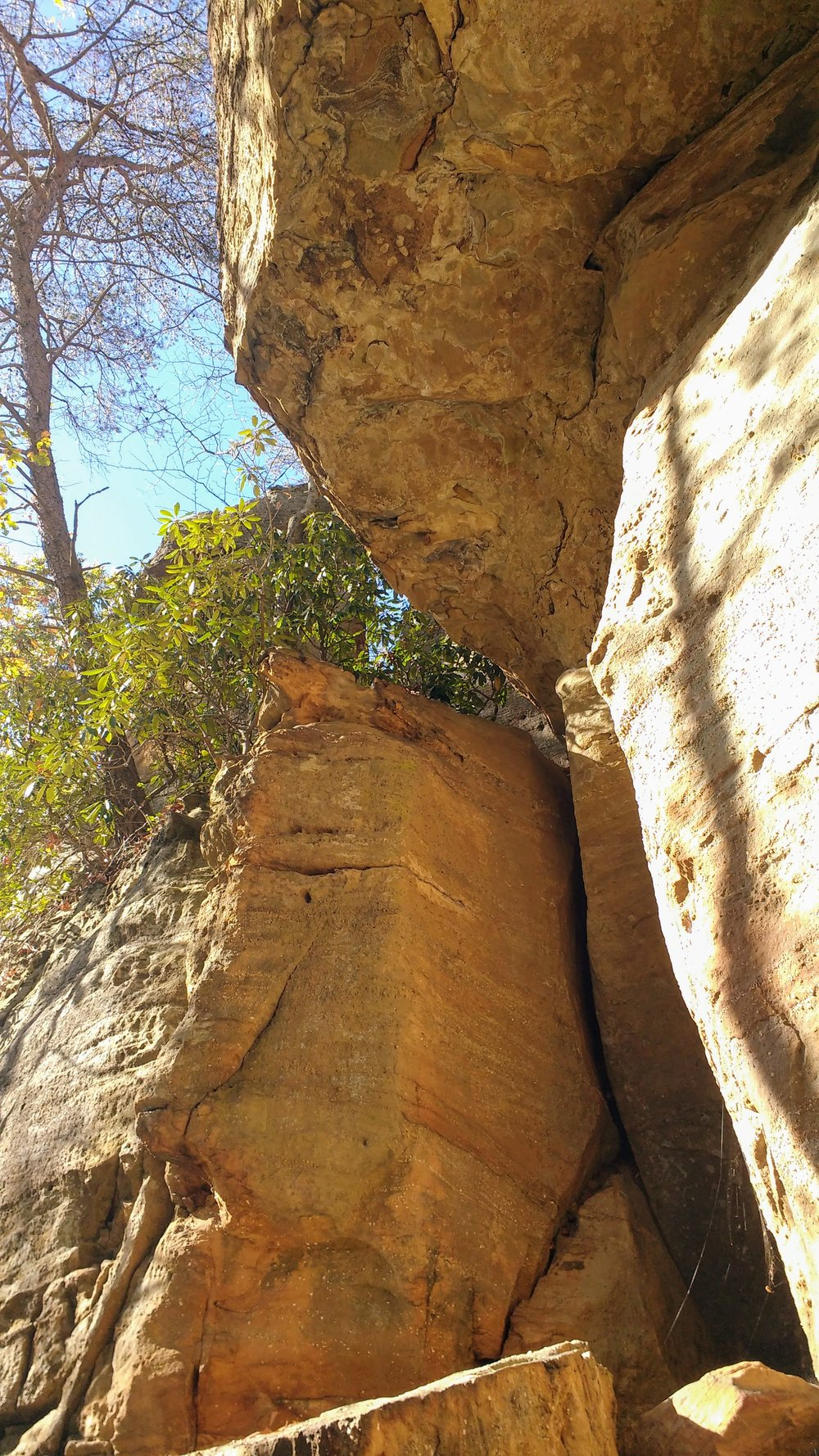 Overhanging rock ledge on Pebble Beach Trail