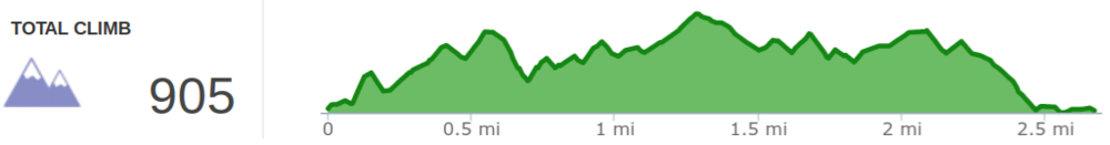 Elevation profile of hike to Wolfpen Arch