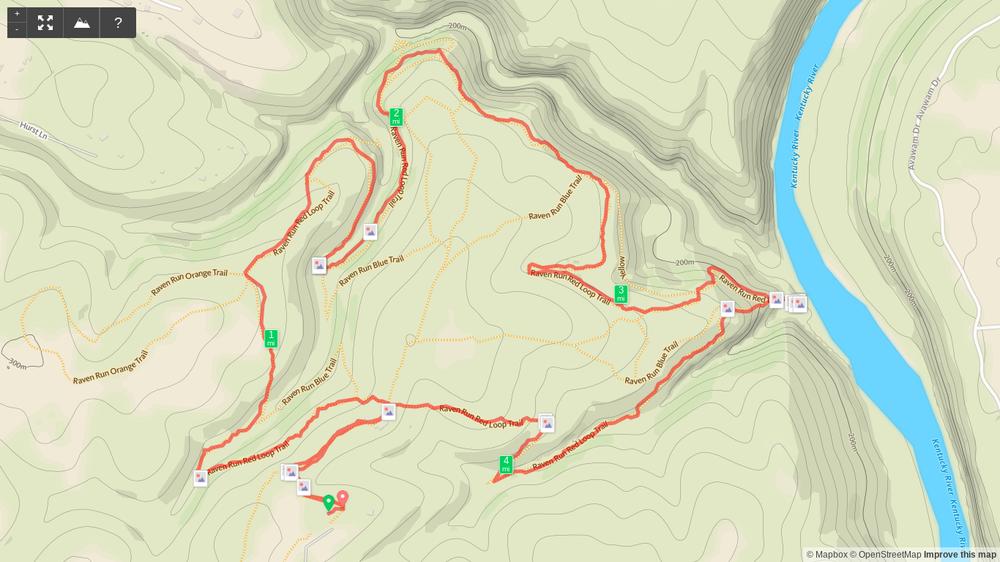 Map of Raven Run Red Loop hike