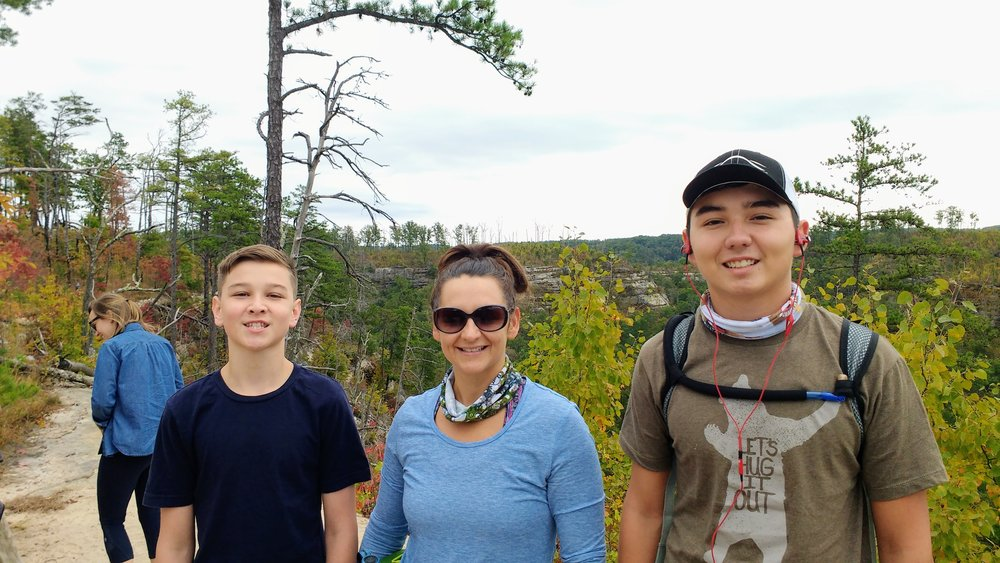 The wife and my boys on Auxier Ridge Trail