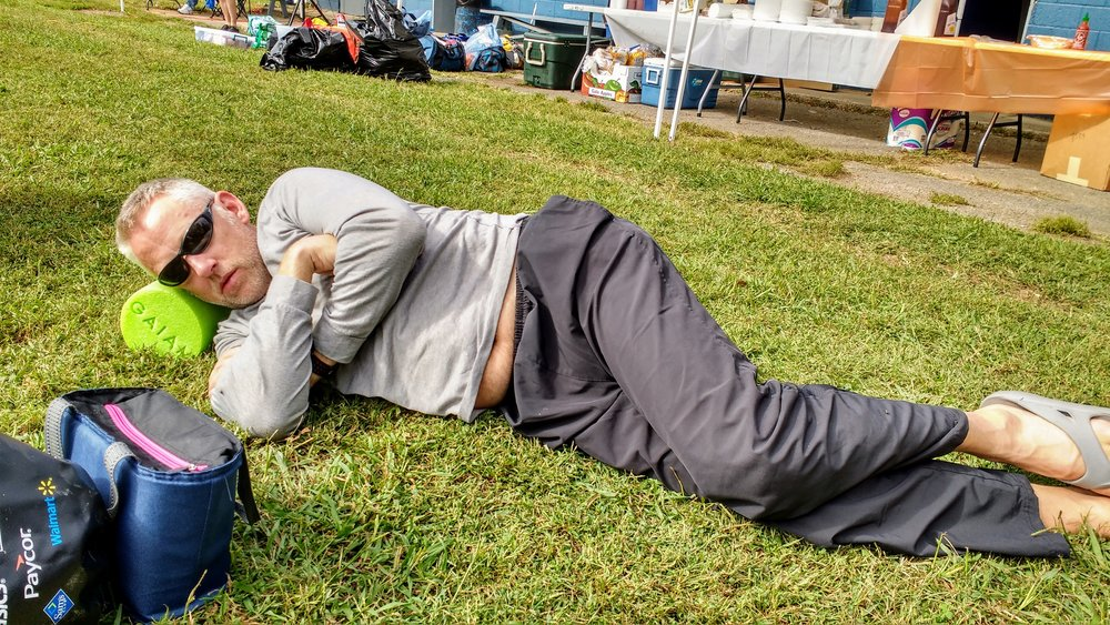 My friend, Jack, catching some Z's after finishing Cloudsplitter 100K