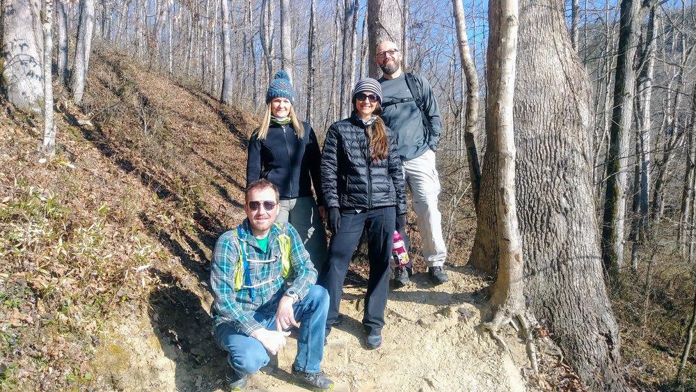 At the Bison Way Trailhead with Handsome Klatzke, Red Belly, Rat, and Bork