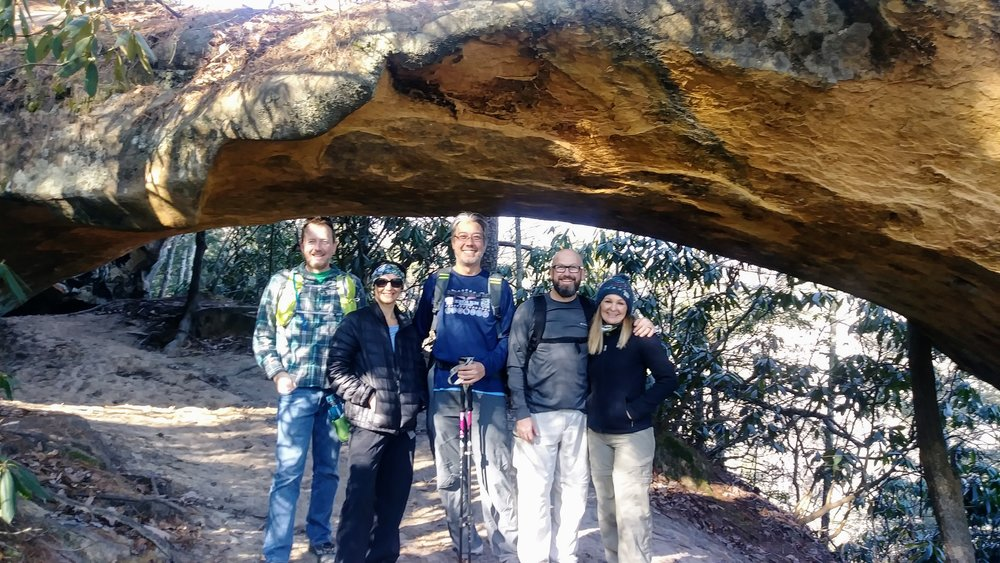 Our hiking party at Indian Arch on Sheltowee Trace in Red River Gorge