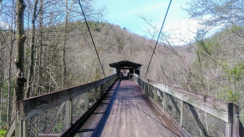 Bridge from Blue Heron Mining Community across Big South Fork