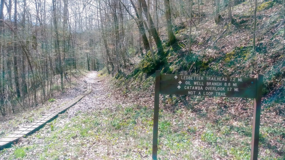 Trail signs at intersection of Blue Heron Bridge and Kentucky Trail