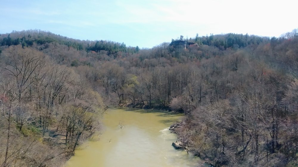 Looking up to Catawba Overlook from Blue Heron Bridge