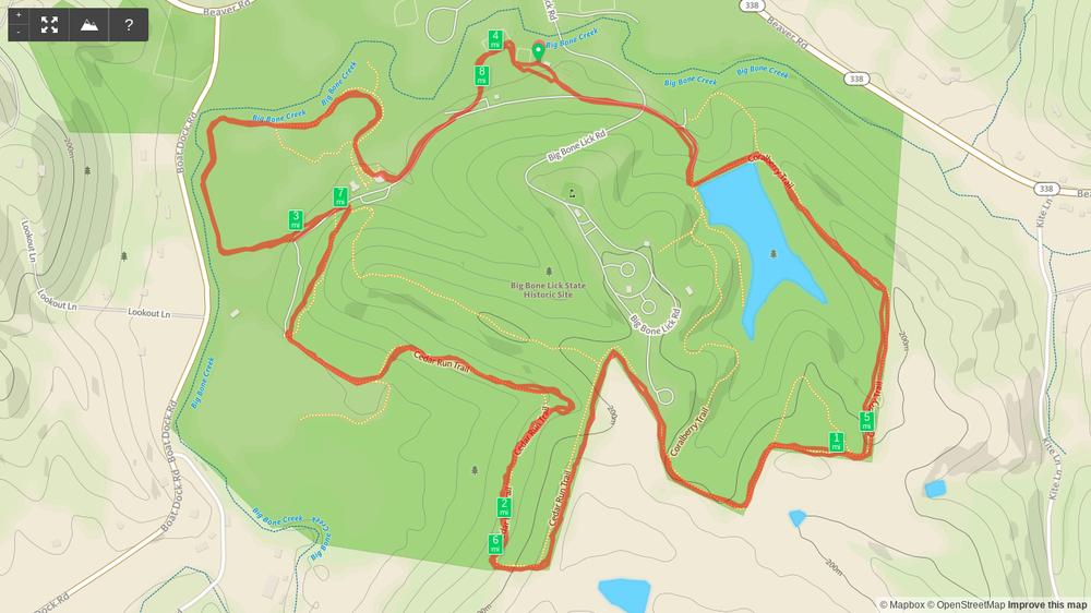 Map of Topo Summer Trail Series - Big Bone Lick 8-miler