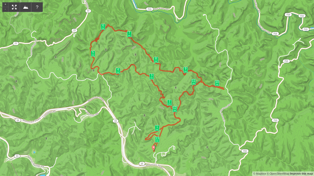 Map of Rough Trail 25K scouting hike