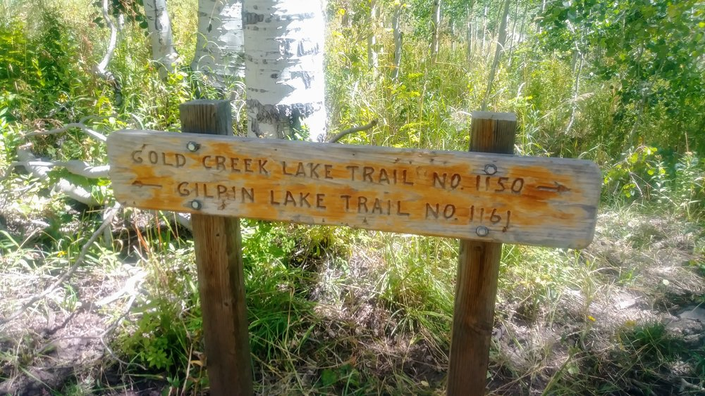 Trail sign at split of Gold Creek Lake Trail and Gilpin Lake Trail