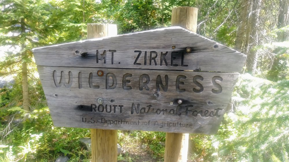Mt. Zirkel Wilderness boundary marker in Routt National Forest