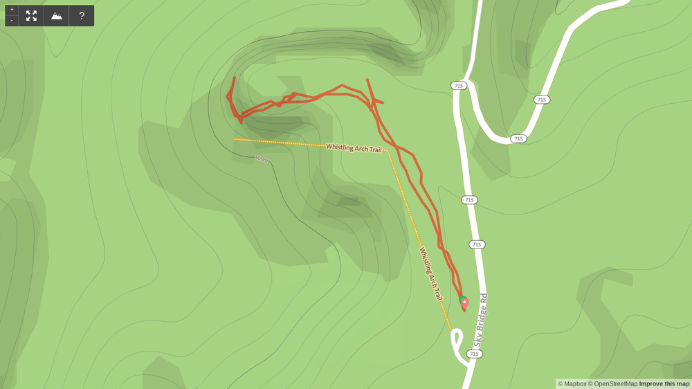 Map of Whistling Arch hike in Red River Gorge