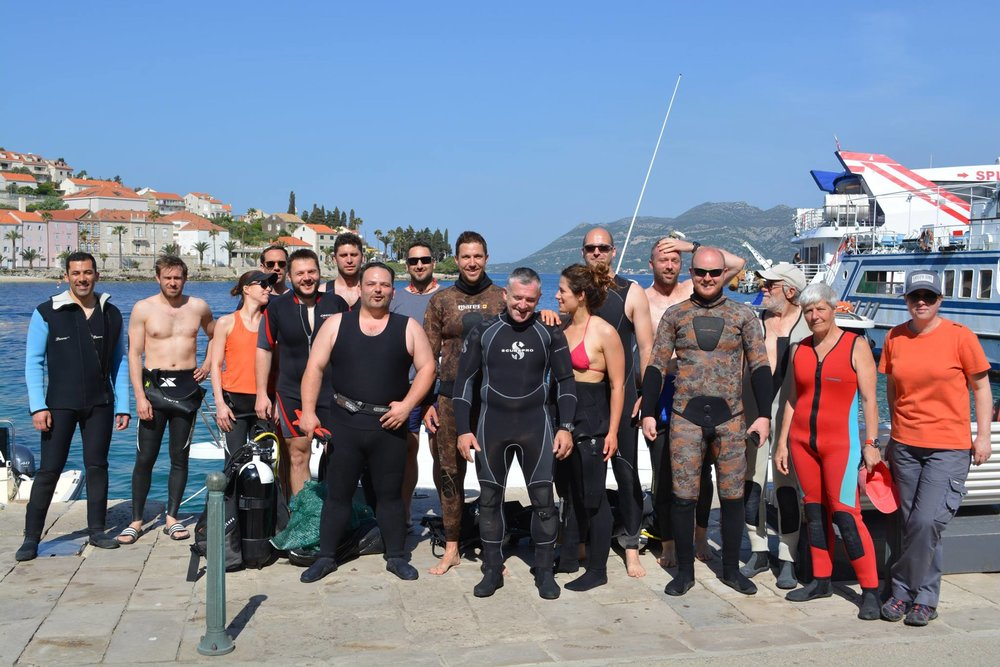 Croatia - 2018. The Open World Racing crew assisting with a harbor cleanup.