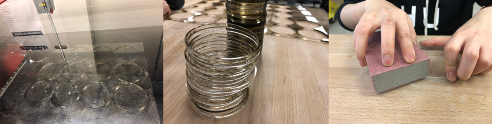 27 * 0.22 inch = 5.94 inch, which is the measured height of the jar's body. We sandpapered the surface of the acrylic rings, preparing for gluing.