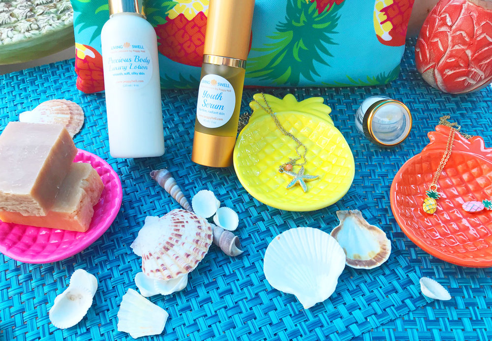 """Pineapple Splash"" Summer 2018 Gift Set includes: Youth Serum, Body Lotion, Eye Lift Cream, Two 2-oz bars of handmade soap, Pineapple ceramic dish, your choice of necklaces, and your choice of zippered beach bag with matching lightweight towel"