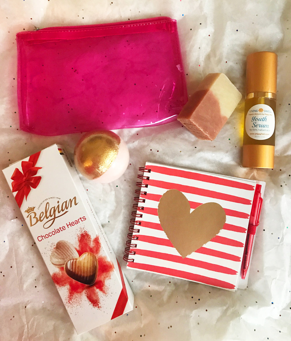 Treat yourself to a full-size youth serum and a heavenly cherry-almond handmade soap (2 oz), a delightful fizzy bath bomb, delectable belgian chocolate-praline heart-shaped chocolates, a pink-zippered cosmetic case, and a heart-felt journal to record your dreams!