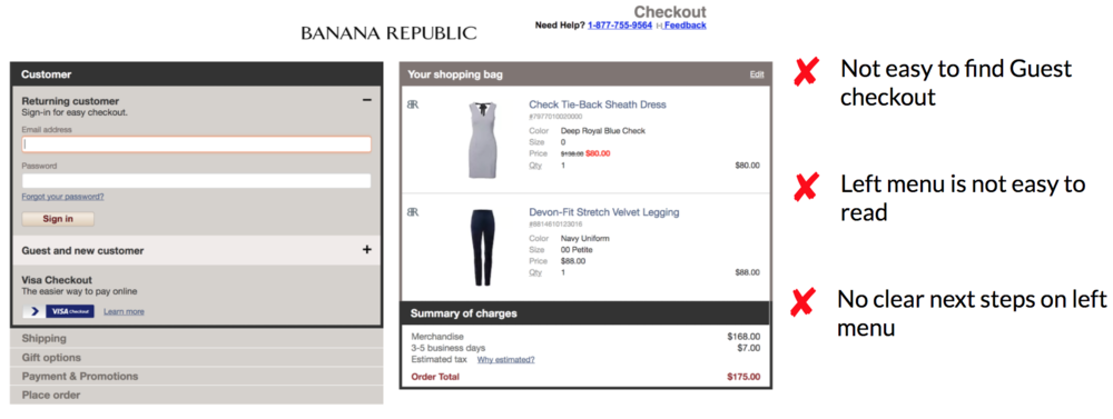 Banana Republic Checkout/Shopping Cart